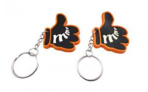 China Double Sided Rubber Name Keychains , Custom Shaped Rubber Keychains Nickel Free on sale