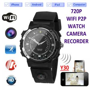China Y30 8GB 720P WIFI P2P IP Spy Watch Hidden Camera Recorder IR Night Vision Motion Detection Remote Video Monitoring on sale