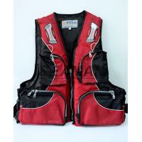100N Red Water Sport Fishing Life Jacket With Oxford Nylon Adult Rigid Foam