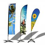 Blue Beach Pattern Teardrop Advertising Flags Personalized Festival Use