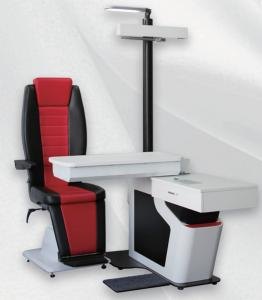 China Ophthalmic Unit with Chair Black and Red Leather Chair for Two Instruments Automatic Phoropter on sale