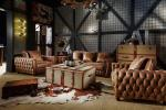 China Dark Brown High End Soft Leather Sofa High Density Foam / Sponge For Living Room wholesale