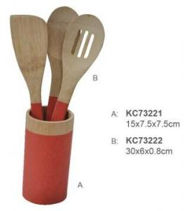 China 100% Bamboo Material Natural Color Food Safe Handle Wooden Bamboo Cutlery Set With Kitchen Spoon on sale