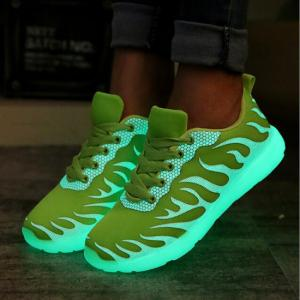 China Green / Blue LED Light Up Sneakers Glowing Fiber Endurable Size Range 36 - 44 on sale