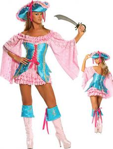 China Wholesale Pirate Costumes Buccaneer Fantasy Costumes by Brocade and Lace in Pink Turquoise color available XXS to XXXL on sale