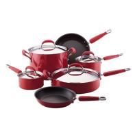 Purple 9 Piece Stamped Kitchen Nonstick Cookware Set With SS LID
