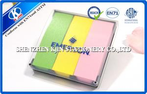 China Green / Yellow / Pink  Memo Sticky Notes In Clear PVC Case For Students on sale