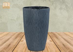 China Fiberclay Garden Pots Clay Flower Pots Large Clay Plant Pots Gray Color Outdoor Pots on sale