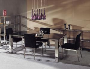Quality Italian Marble Dining Tables , Modern Black Glass Dining Table Set for sale