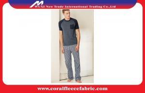 China Short Sleeve Cotton Adult Pajamas , Check Print Woven Pajama Set for Men on sale