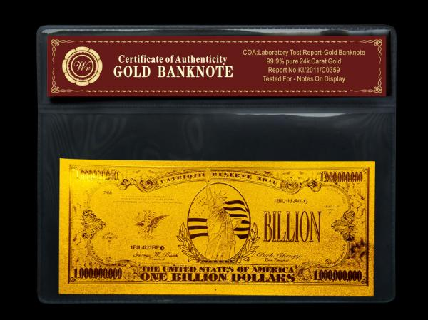 Gold Crafts American One Billion Gold Foil Banknote For Gift Images