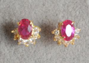 China Half Flower 925 Sterling Silver CZ Earrings , Post Stud Earrings For Wedding Gift on sale