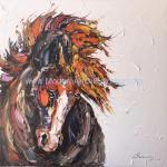 Abstract Thick Texture Horse Painting On Canvas / Animal Canvas Wall Art