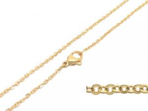 China Fashion Gold Plated Stainless Steel Chains Necklace Flat Oval Ring Link For Women on sale