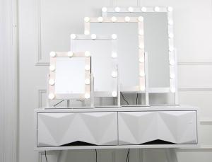 China Salon Led Bluetooth Speaker Makeup Mirror 40x50cm Light Up Cosmetic Mirror on sale