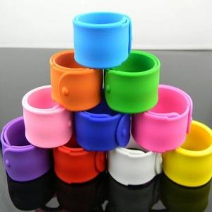 China Printed color silicone bracelets slap wristband for children on sale