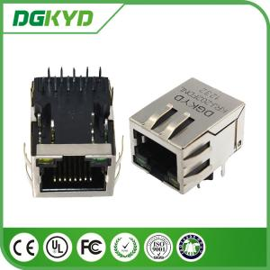 China Tap down Single Port 1000BASE rj45 10 pin connector , rj45 modular connector with led on sale