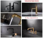 brass vanity basin Faucets black colour cold hot water Industrial Style  wholesale price