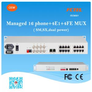 China Managed 16 Phone SNMP 4E1 4FE SM SX (FXS/FXO) POTS Fiber Optic Multiplexer on sale