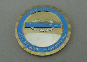 China Brass Two Tones Plating custom military coins soft enamel For Combat Infantryman on sale
