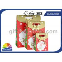 Customized Christmas Gift Packaging Bag with Die Cut Handles Ribbon Bowknot