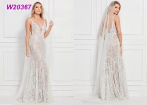 China Allover Beaded Lace Floor Length Female Wedding Dress Gowns 3 Styles Choices on sale