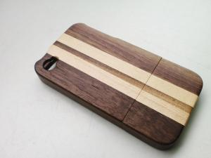 China Iphone Wood Hard Shell Case With Walnut & Maple Mixed Strip on sale