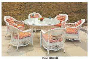 China Not fiber but PE rattan dining table set big round table with cushion and pillows on sale