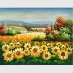 Custom Palette Knife Sunflowers Oil Painting, Decorative Hand Painted Art on Canvas