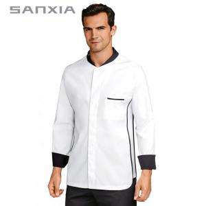 China Custom Coloured Chef Jackets , Chef White Uniform With Contrasting Trimmings on sale