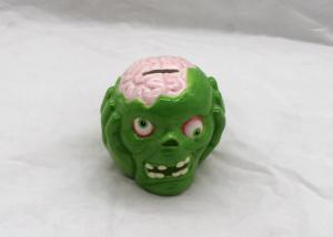 China Green Skull Style Kids Ceramic Bank Dolomite For Halloween Promotional on sale