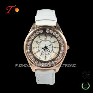 China New latest ladies fancy stone watches design for ladies with leather band on sale