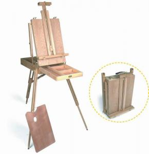 China Wooden Painting Easel Art Stand , French Sketch Box Easel With Palette Belt Aluminium Tray on sale