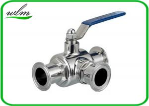 China SS304 316L Stainless Steel Sanitary Manual Three Way Ball Valves for Hygienic Pipeline Applications on sale