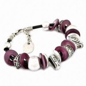 China Fashion beaded bracelet, adjustable size, made of alloy, plastic beads, shell, rhinestones inlay on sale
