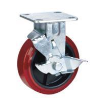 China Polyurethane caster wheels brake on sale