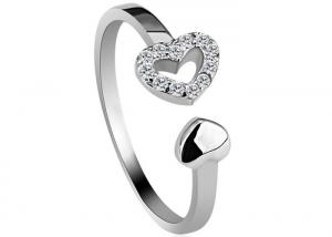 China Micro Pave Setting 925 Sterling Silver Rings Sparkle Heart Shaped For Personalized Promise on sale