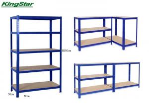 China MDF Shelf Boltless Shelving System , 5 Tier Metal Shelving Unit Fastening Structure on sale