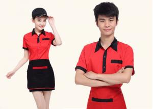 China Red And Black Color Restaurant Staff Uniform Cotton New Polo Style For Waitresses on sale