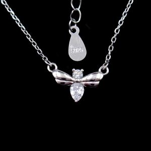 China Little Bee Silver Cubic Zirconia Necklace With Rhodium / 18K Gold Plating on sale