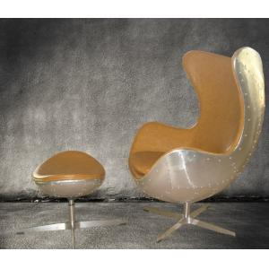 ... Quality Retro Aluminium Metal Aviator Leather Egg Chair Cowhide For  Sale ...