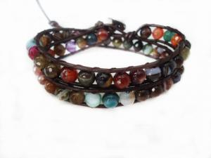 China Two Layer Multicolor Stone Beads Bracelet, Custom Leather Bracelets For Couples on sale