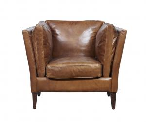 China Cotton Figurine Wooden Leg High Back Leather Armchair , Brown Leather Occasional Chair on sale