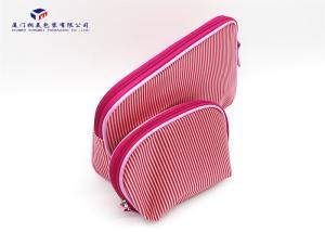 China Modern Style Fabric Makeup Bag Pink / White Stripe Satin Cloth Materials on sale