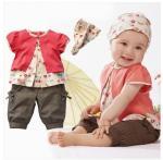 3 equipos determinados del modelo Top+Pants+Hat de las frutas de los bebés de las PC 0-3 años de ropa