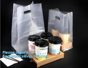 China Disposable cup carrier bag, carry bag, cup handle bag, handy bag, die cut bag, handle carry bag, grocery bag, bakery pac on sale