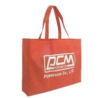 Red material handle non-woven bags printed with white logo_China Printing Factory
