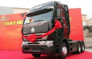 China Flat Roof Cab Tractor Truck For Trailer , 6x4 Tractor Unit Trailer Head on sale