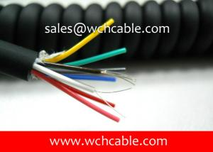 China UL20280 (24AWG) 8 Conductors Oil Resistant TPU Spiral Cable Black Jacket with Colorful PP Insulated Wire on sale