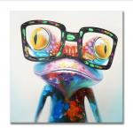 Hand Painted Oil Painting Pop Frog with Glasses on Canvas Wall Art 3D Abstract Canvas